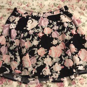 Forever 21 | Black Floral Skater Skirt